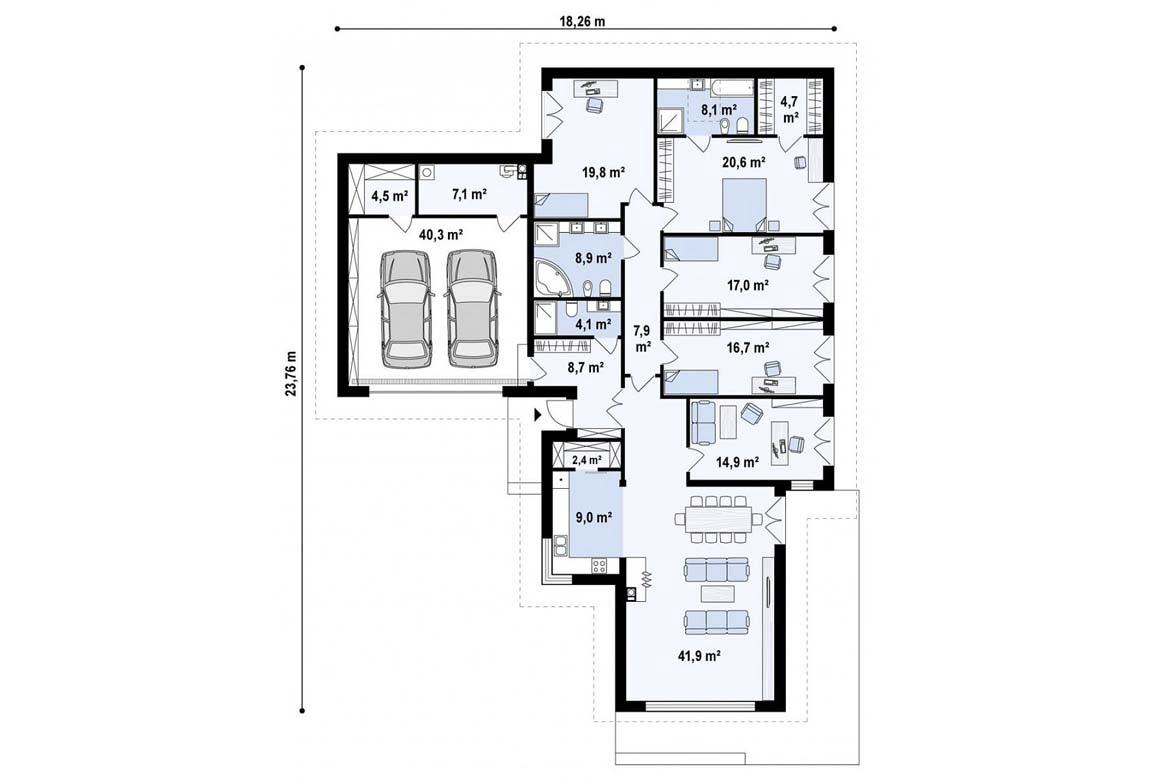 План N1 проекта дома из блоков АСД-1871