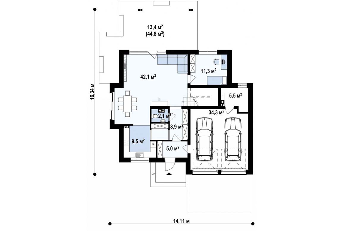План N1 проекта дома из блоков АСД-1893