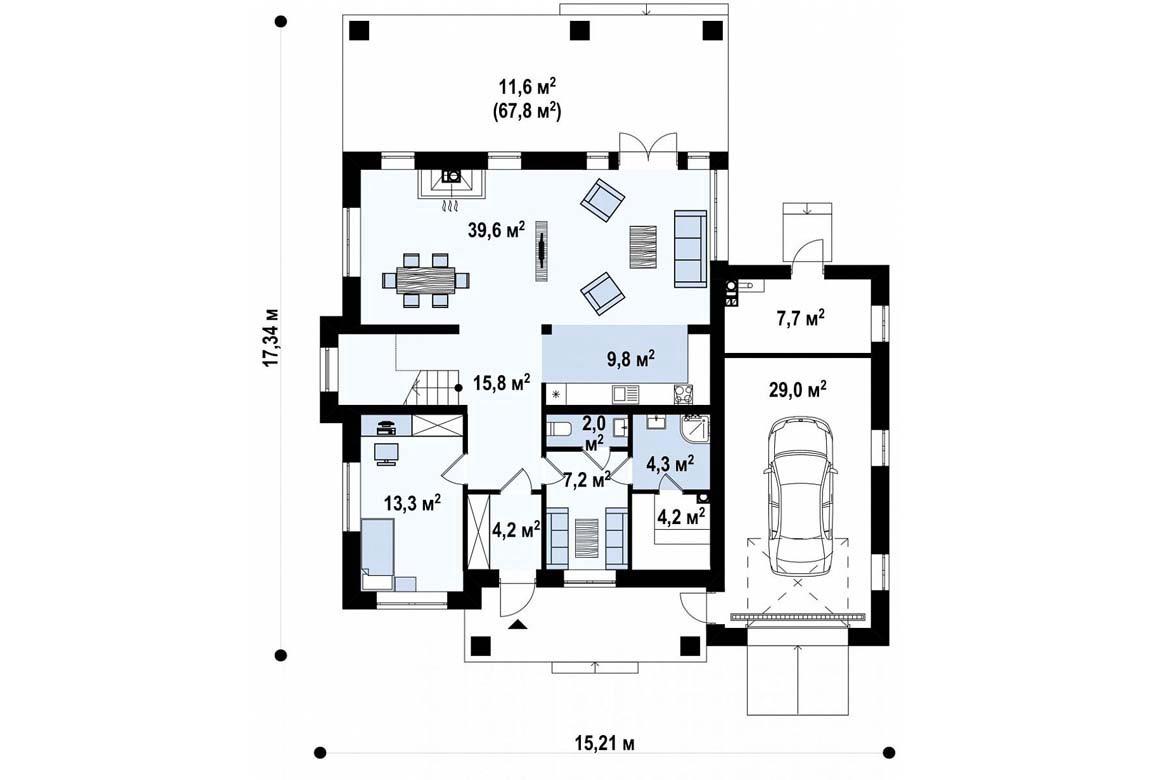 План N1 проекта дома из блоков АСД-1894