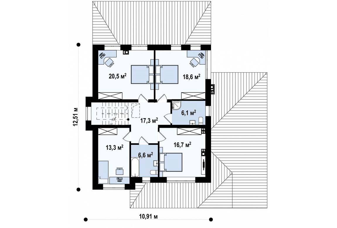 План N2 проекта дома из блоков АСД-1894
