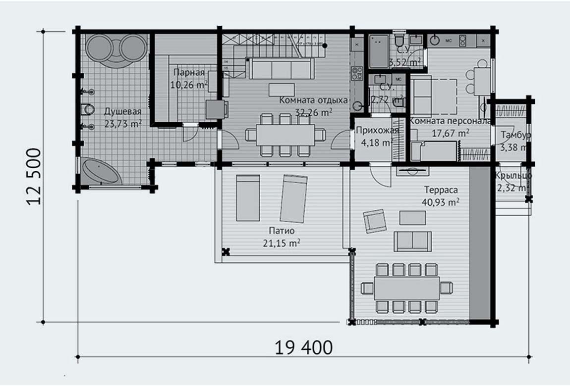 План N1 проекта бани АСД-1895