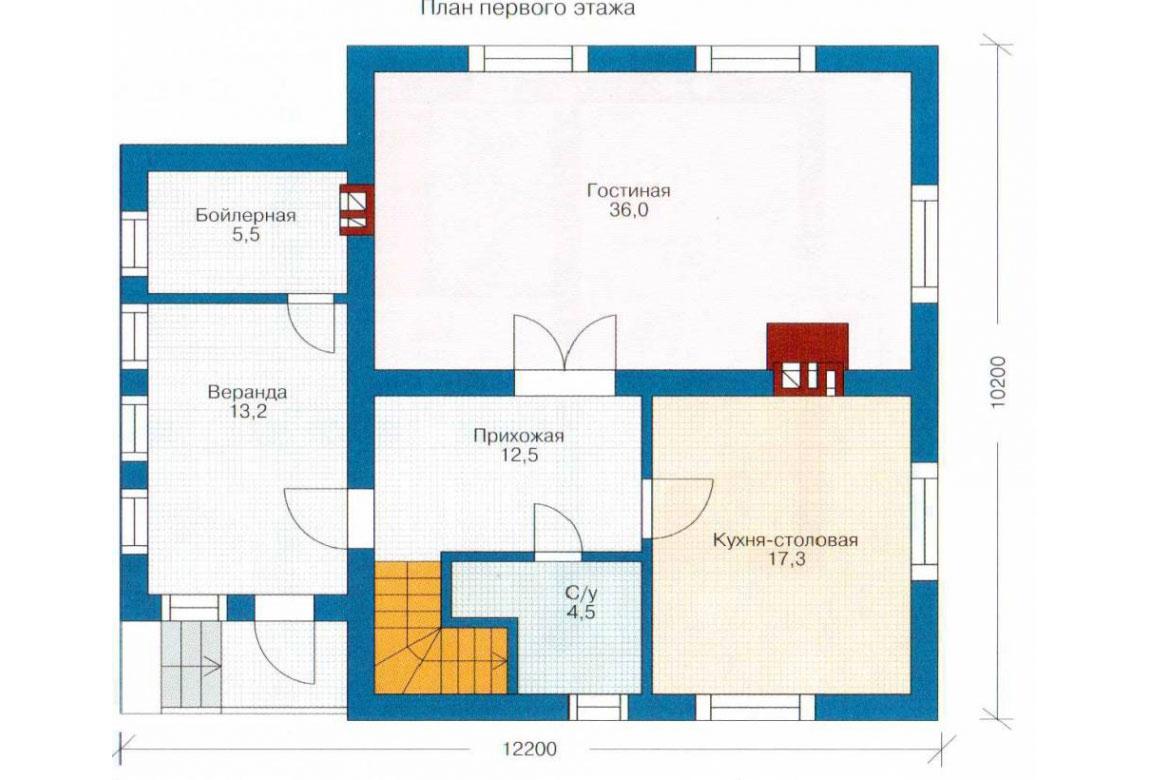 План N1 проекта кирпичного дома АСД-1009