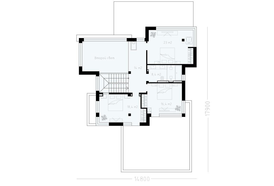 План N2 проекта ВИП дома АСД-1900