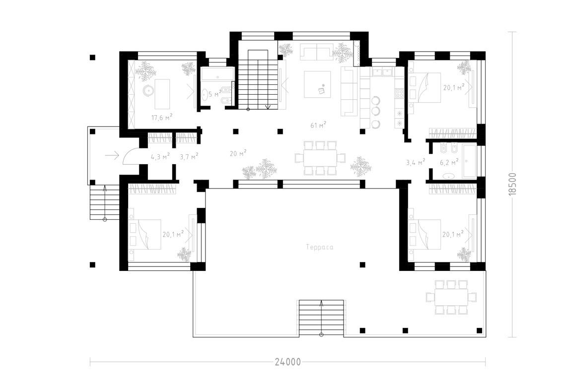 План N1 проекта ВИП дома АСД-1934