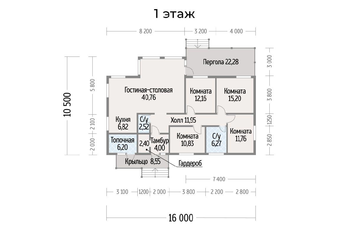 План N1 проекта дома из клееного бруса АСД-Акварель