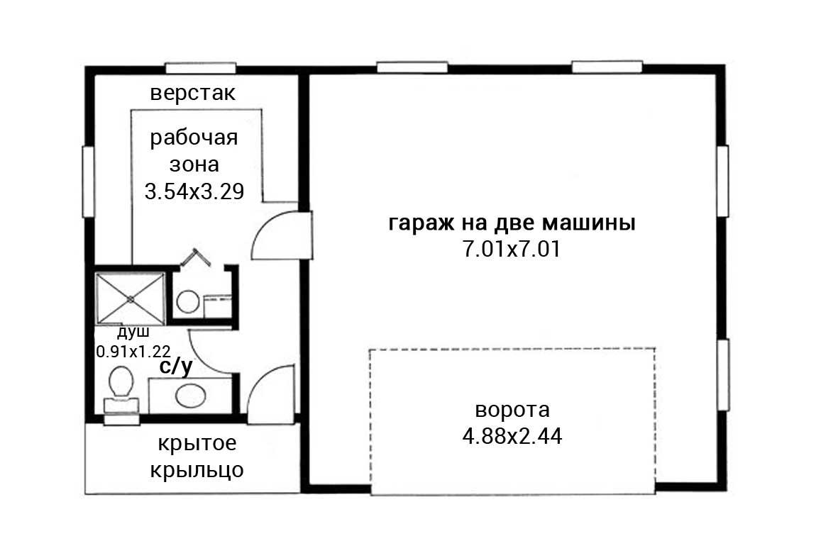 План N1 проекта гаража АСД-1954