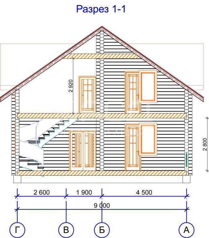 Проектные работы по дому из клееного бруса - разрез