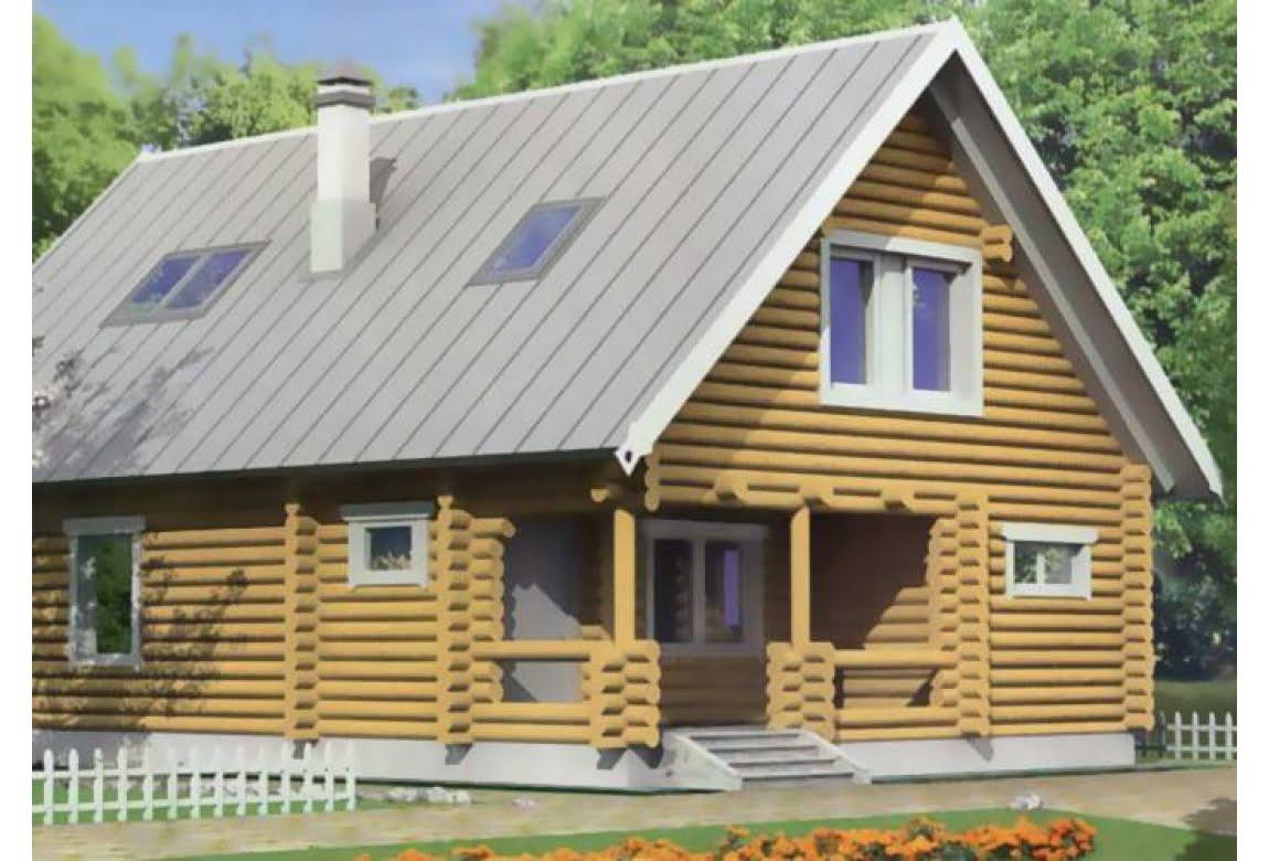 Проект дома из бревна 10-18