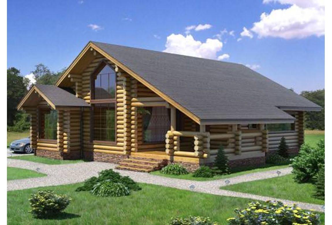 Дом из оцилиндрованного бревна 2-16