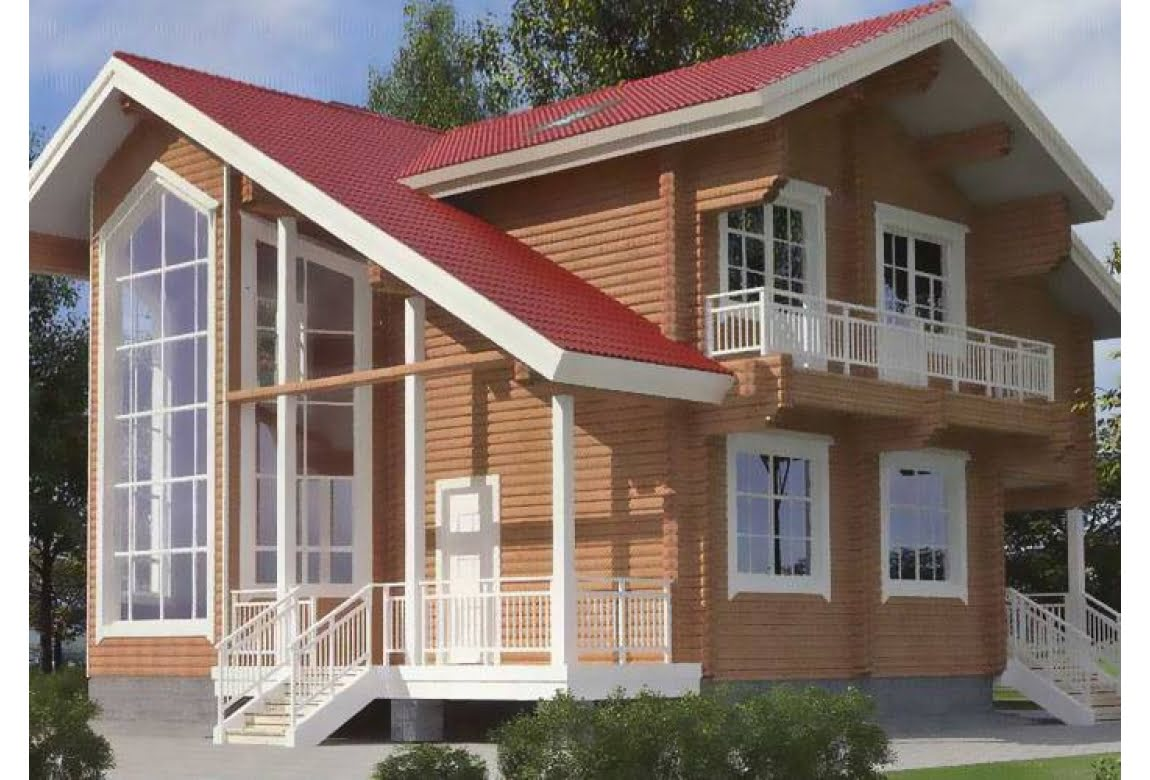 Дом из клееного бруса по проекту 11-12