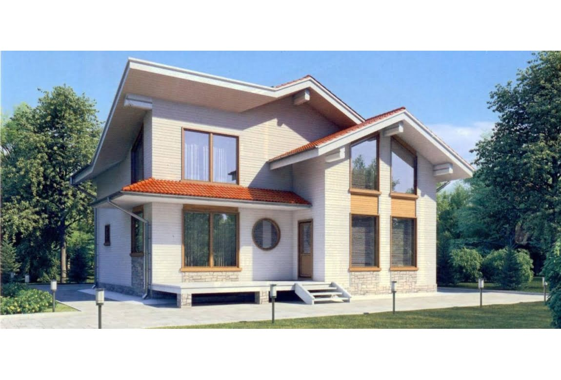 Дом из клееного бруса по проекту 11-56
