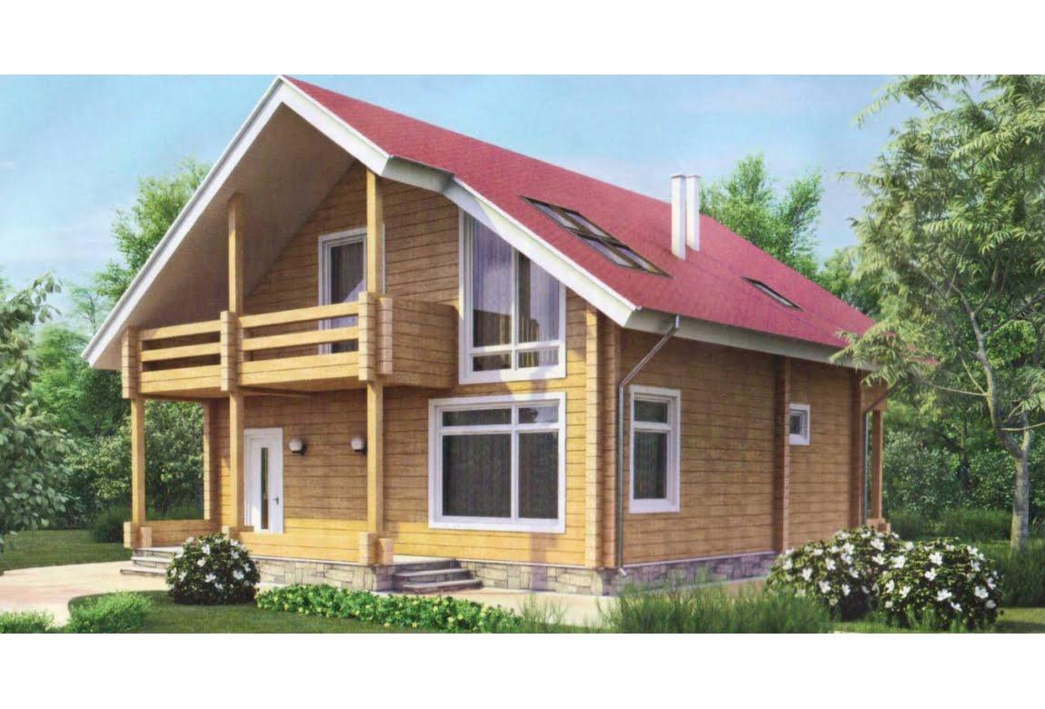 Дом из клееного бруса по проекту 11-54