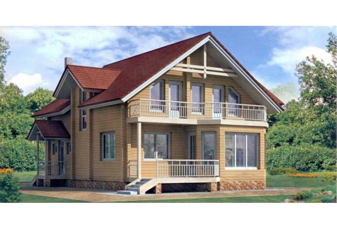 Дом из клееного бруса по проекту 10-70