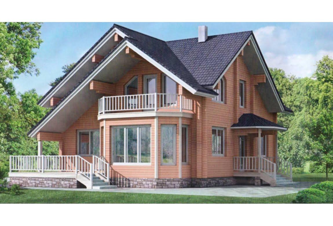 Дом из клееного бруса по проекту 10-55