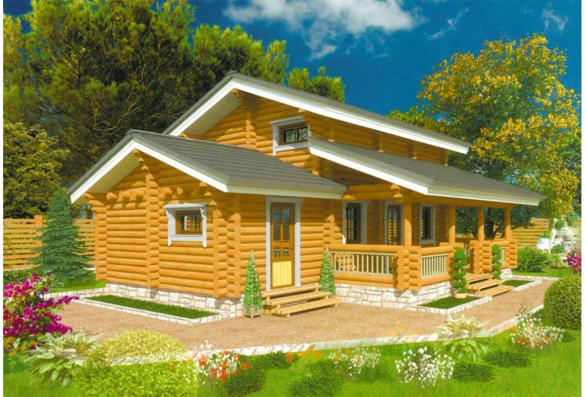 Дом из оцилиндрованного бруса Урал