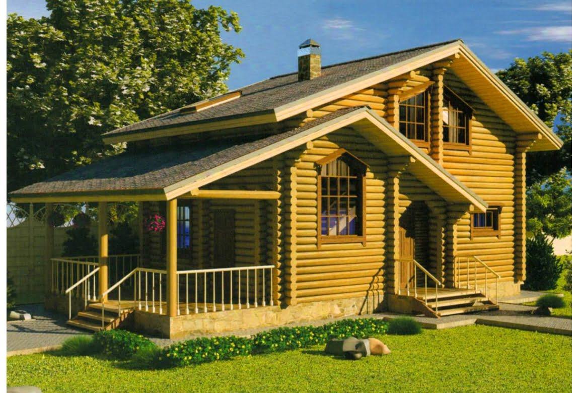 Дом из оцилиндрованного бревна Оранжевое Солнце
