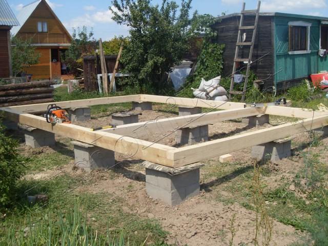 Фундамент под деревянную баню